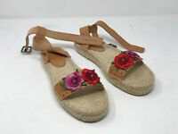 Soludos Anthropologie Espadrille Sandals Size 9.5 Red Pink Rose Leather Weave