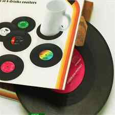 Set of 6 Novelty Vinyl Silicone Record Retro CD Type Drink Coasters Cup Mats