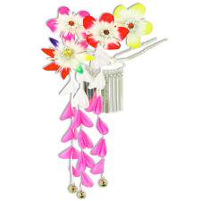 Japanese Hair Ornament Kanzashi Rainbow Flowers Silver Links Pink Wisteria Bells
