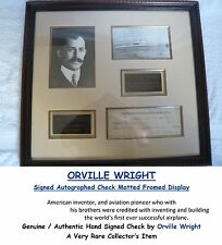 ORVILLE WRIGHT BROTHERS  SIGNED CANCELLED BANK CHEQUE  FRAMED DISPLAY  RARE ITEM