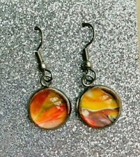 earrings Acrylic Pour women's Hand-Painted glass cabochon