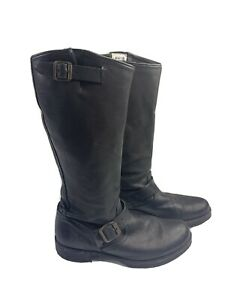 FRYE 77605 Veronica Slouch Black Leather Boots Women's Size 10 B