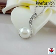 UK Silver Music Note Faux Pearl Rhinestone Pendant Necklace