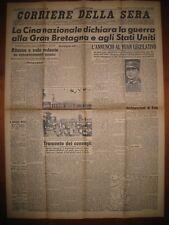 CORRIERE DELLA SERA  10/1/1943  La Cina dichiara guerra alla Gran Bretagna