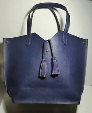 Women's NEIMAN MARCUS Navy Blue Tote Bag with Tassels