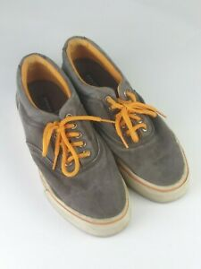Sperry Top Sider Mens Gray/Orange Canvas Shoes Sz 9