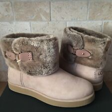 UGG CLASSIC BERGE MINI AMPHORA SUEDE SHEARLING ANKLE BOOTS SIZE US 7.5 WOMENS