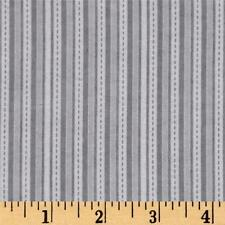 Fabric Baby Blender Stripes & Dashes on Gray Flannel by the 1/4 yard BIN