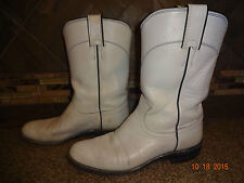Womens JUSTIN Sz 6.5B Style L3086 Cowboy Boots White Leather
