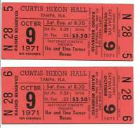 Ike & Tina Turner Concert Ticket Set of 2 1971 Tampa Orange