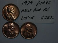 wheat penny lot 1939-P,1939-D,1939-S RED BU SET 1939D,1939S UNC LINCOLN CENT #4