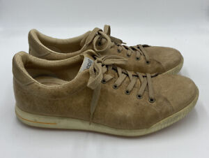 Ecco Beige Tan Brown Leather Street Spikeless Golf Shoes Men's Size 44
