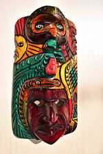 HAND MADE CARVED WOODEN MASK FROM GUATEMALA - GORGEOUS DETAILS!!! #2