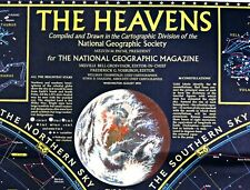 ⫸ 1970-8 August HEAVENS with MONTHLY STAR CHARTS - National Geographic Map X#V