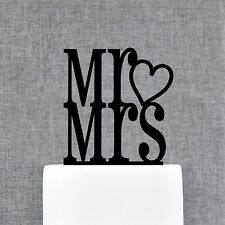 Mr & Mrs with heart wedding cake topper by Chicago Factory- (S066)