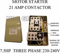 MAGNETIC MOTOR STARTER CONTROL FOR ELECTRIC MOTOR 7.5 HP 3-PHASE 208-240VAC  21A