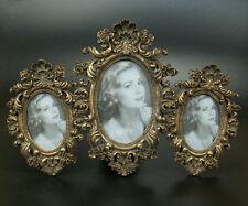Barock Rokoko Bilderrahmen 3er Fotorahmen 3 Bilder Rahmen Oval Holz Gold Antik