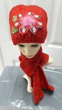 Ladies Red knitted set hat and scarf warm for Autumn/winter one size*