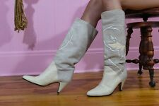 Vtg 70s Vero Cuoio Leather on Suede Made in Italy Knee High Boots Size 9