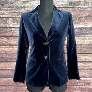 Weekend MaxMara Blue Velvet Blazer New NWOT 6 S Small Jacket Taylor Fit