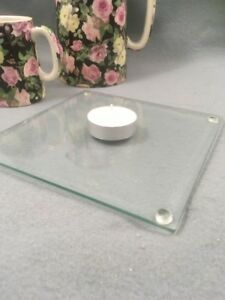 Clear Square Glass Candle Plates Tea Light Holders x 12 Job Lot / Wedding /Party