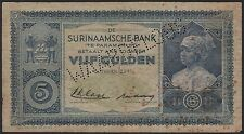 "Suriname 5 gulden 1935, perforated ""WAARDELOOS', VG, Pick 1A"