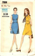 Vintage 1970s Vogue Sewing Pattern Womens A-LINE DRESS 7804 Sz 16 UNCUT
