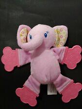 Bright Starts Pink yellow print ears elephant plush Teether rattle