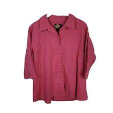 Cabelas Outdoor Gear Womens Pink Cotton 3/4 Sleeve Collared Button Shirt Top 2XL