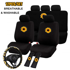 Universal 12pc Seat Cover Full Set w/Steering Wheel Cover & Seat Belt Protector