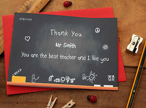 "Handmade Personalised Thank You Teacher Teaching Assistant Card ""Blackboard"""
