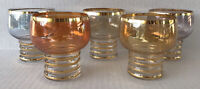 Vintage MCM Cocktail Glasses Iridescent Multi Colored Mid Century Footed Tumbler