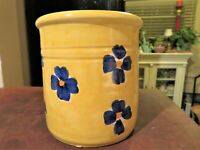 Vintage Yellow Blue Floral Hand Painted Ceramic Pot