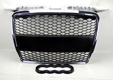 Chrome w/ Matte Black Mesh Front Hood Bumper Grill Fits Audi A3 8P 06-08