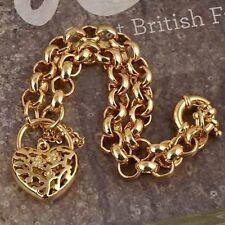9K Yellow Gold Plated Women's fashion Shrimp HEART LOCK fashion bracelet