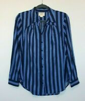 Anthropologie Maeve Women's Bold Blue Striped Button Down Blouse Size Xsmall