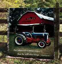 Mill Spring Farm & Tractor Tapestry Afghan Throw w/Verse ~ Galatians 6:7