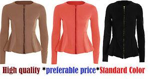 Womens ladies zip peplum ruffle plus size tailored blazer jacket top size*ZipjkT