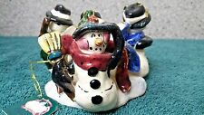 Snowmen in a circle t-lite holder by Heather Goldminc for Blue Sky Clayworks