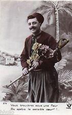 BJ709 Carte Photo vintage card RPPC Homme uniforme spahis Maroc fantaisie