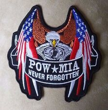 "🇺🇸 5"" POW MIA Never Forgotten Eagle American Flag V-Twin Iron-on Biker PATCH!"