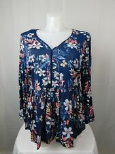 Style & Co Tunic Top Womens Plus 2x Navy Floral Lantern Sleeve Peasant Blouse
