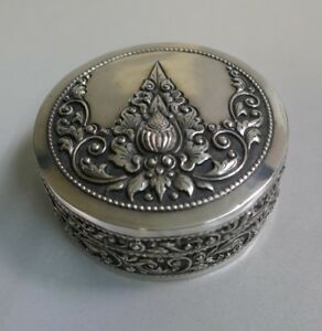 Yogya People Silver Round Dresser Box - Repousse Design signed ZR Delux