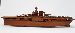 Hand Carved Wood Aircraft Carrier USS Lexington w Biplanes- Sunk WWII - Folk Art