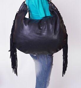 MODA LUXE Extra Large Black  Leather Shoulder Hobo Tote Satchel Purse Bag