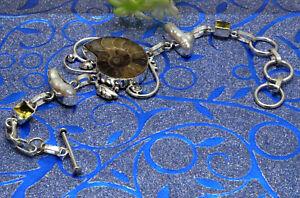 "925 Sterling Silver Ammonite & MOP Gemstone Jewelry Handmade Bracelet Size-7-8"""