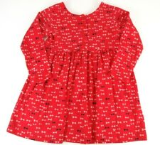 Hanna Andersson Vintage Playdress Size 100 US 4 Long Sleeve Red Bows 3 Button