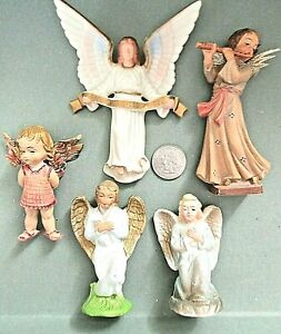 "**5**CHRISTMAS ANGELS = SIZES AND STYLES =TALLEST IS 4 3/4"" & SMALLEST IS 3"" TAL"