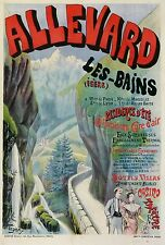 VINTAGE POSTER ALLEVARD LES BAINS CASINO THEATRE FRENCH THERMAL STATION 1894