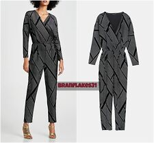 ZARA BLACK SILVER VELVET SHIMMERY JUMPSUIT WITH GEOMETRIC APPLIQUES SIZE XL